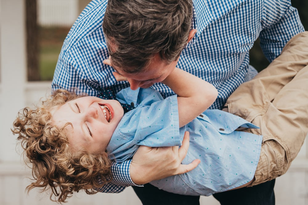 San Diego Family Photography, father playing with son and laughing together