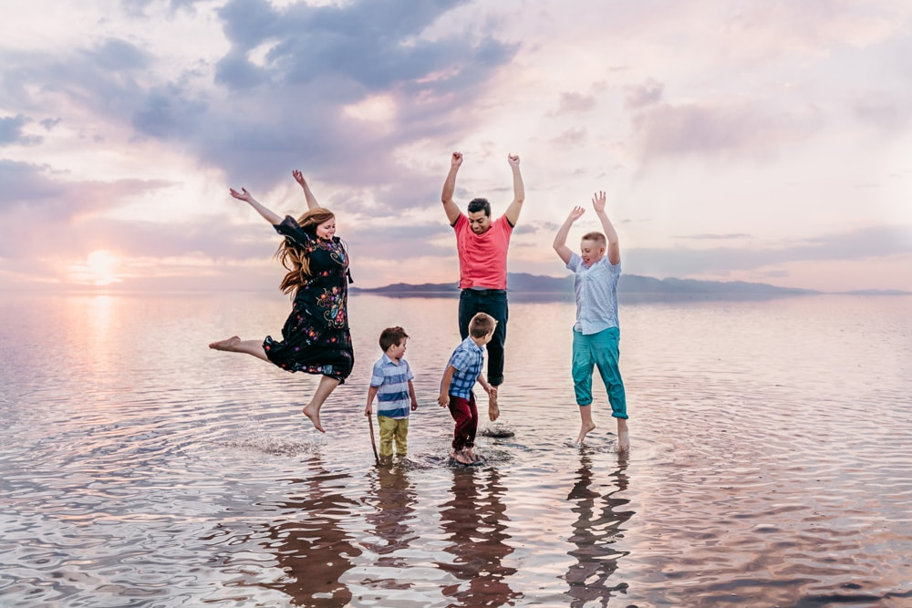 San Diego Family Photography, family of five playing in the water together