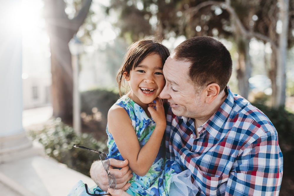 San Diego Family Photography, father and daughter laughing together