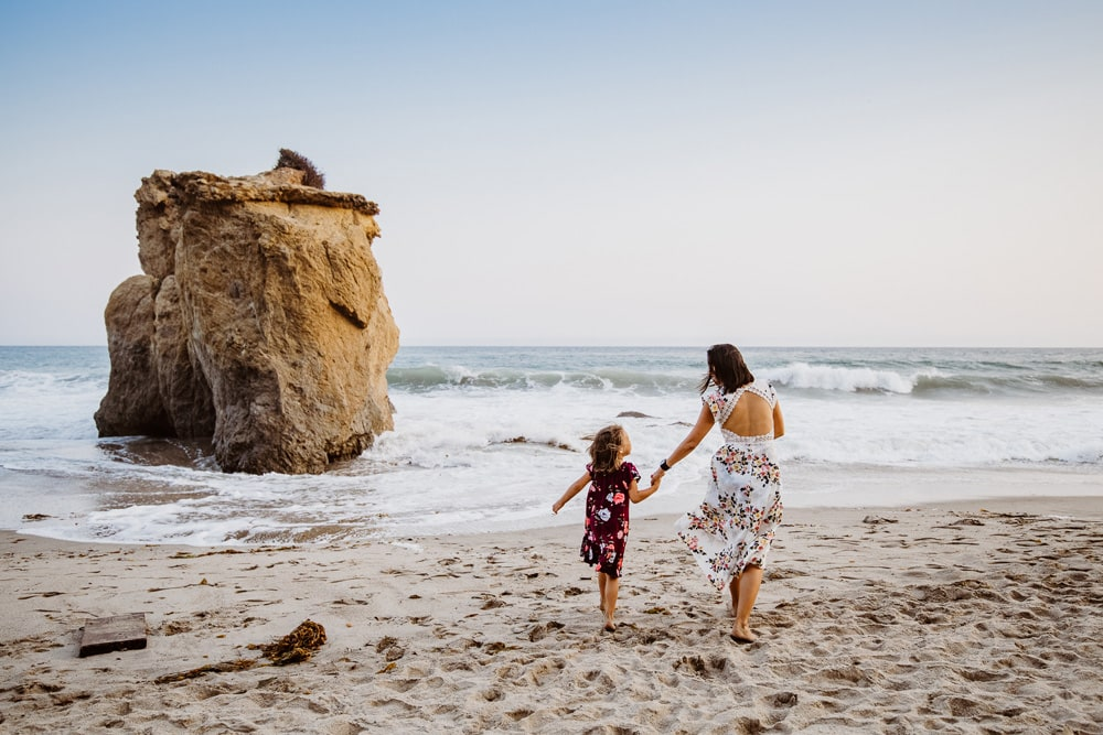 San Diego Family Photography, mother and daughter in the sand by the beach