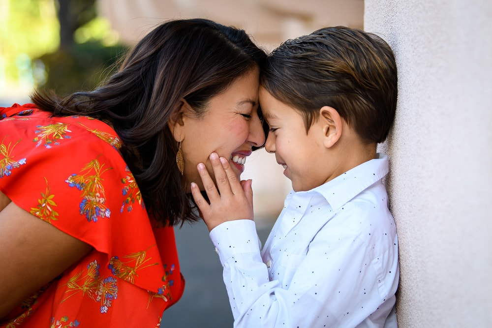 San Diego Family Photography, mother and son in white shirt