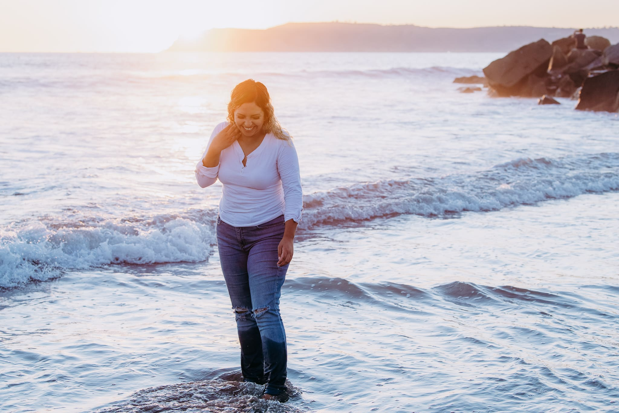 San Diego Portrait Photography, Andora Photography, Woman standing in the shallows at the beach