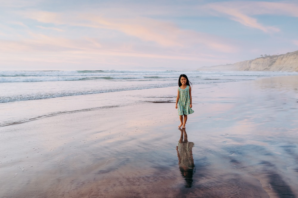 San Diego Children Photography, little girl by the water in a light blue dress