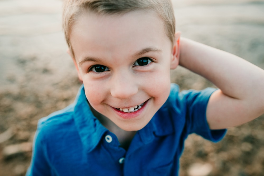 San Diego Children Photography, close up of little boy in blue polo