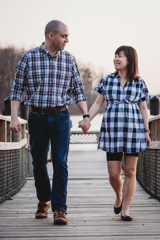 San Diego Couples Photography, couple walking along a bridge together