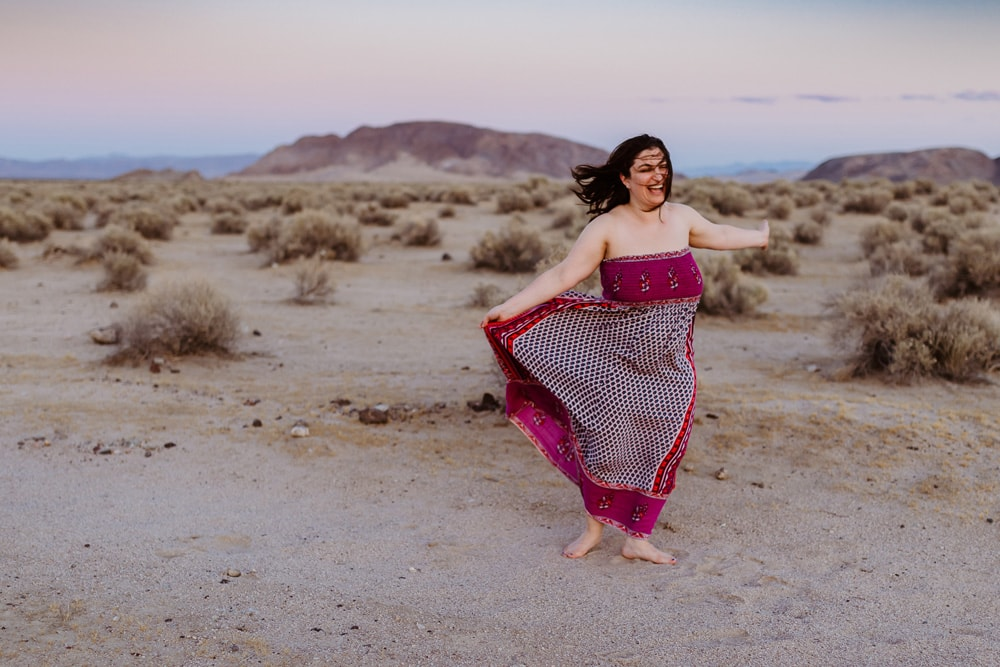 Individual Portrait Photography, woman dancing in the desert