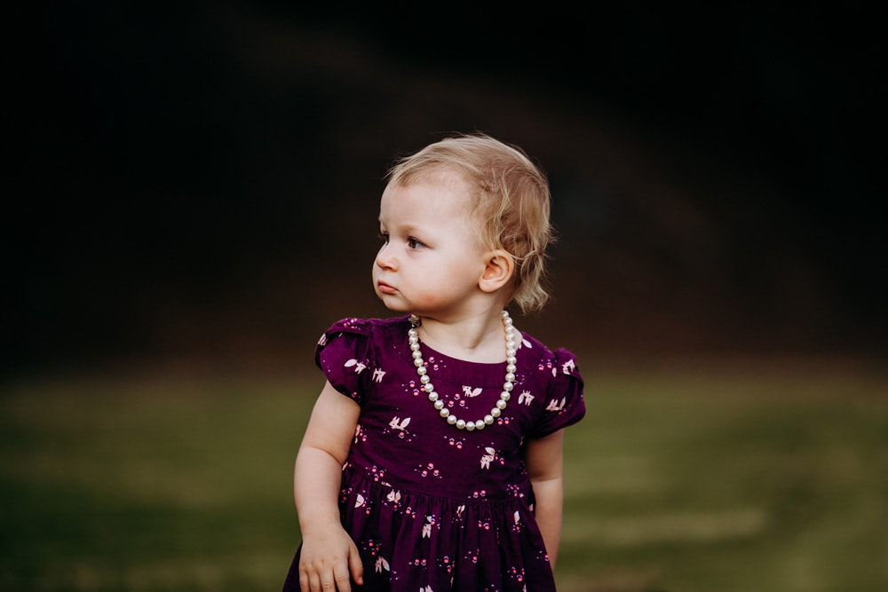 San Diego Children Photography, little girl in dress with pearls