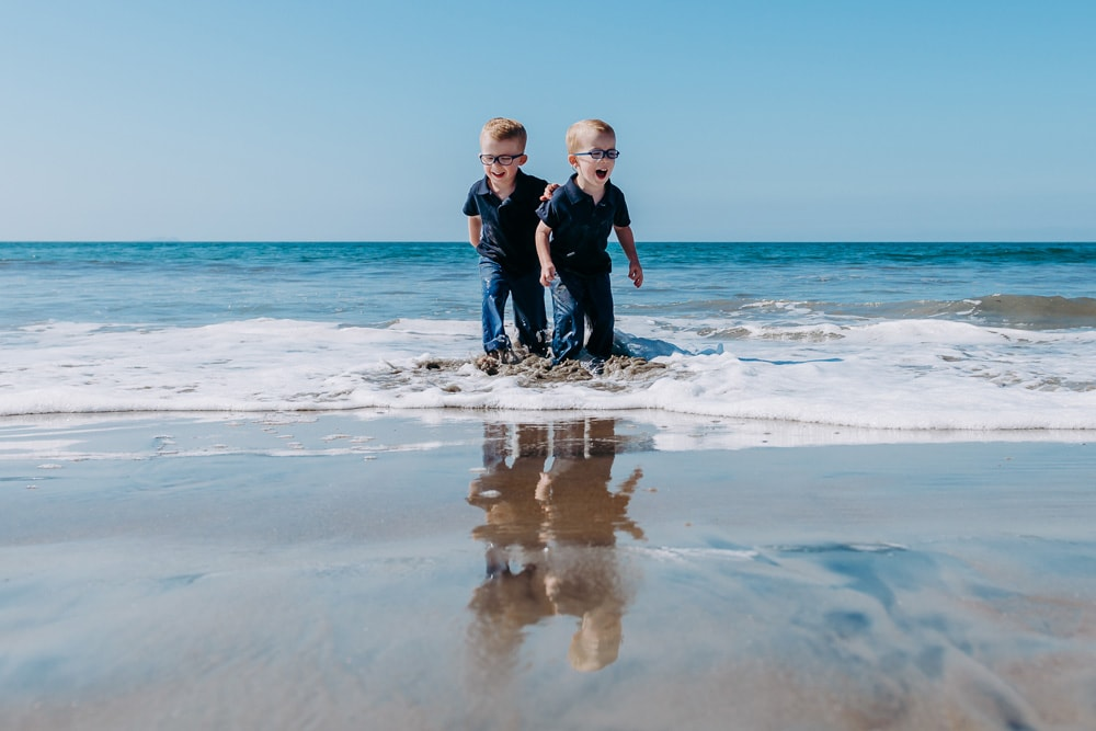 San Diego Children Photography, twin boys at the beach