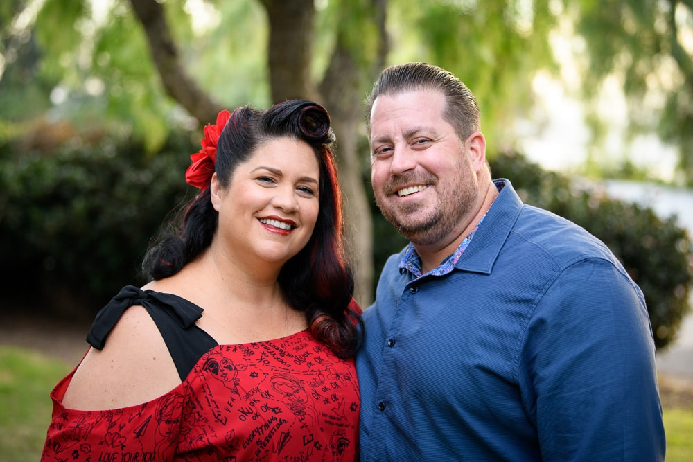 San Diego Couples Photography, woman's hair is up in a red flower