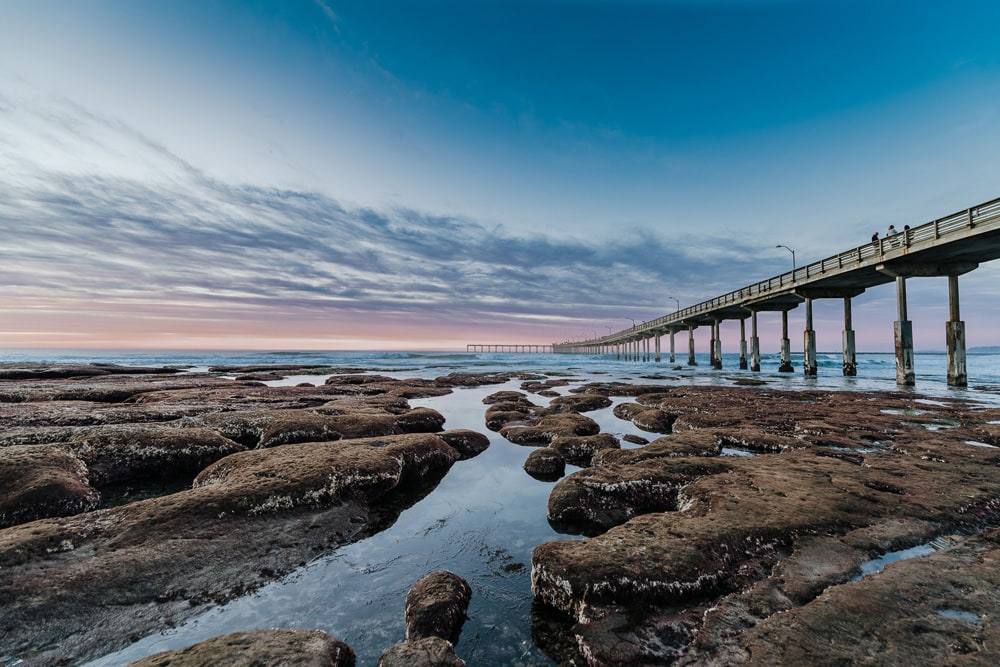 Landscape and Macro Photography, beach with tide pools and pier