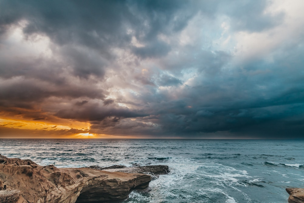 Landscape and Macro Photography, stormy sunset at the beach