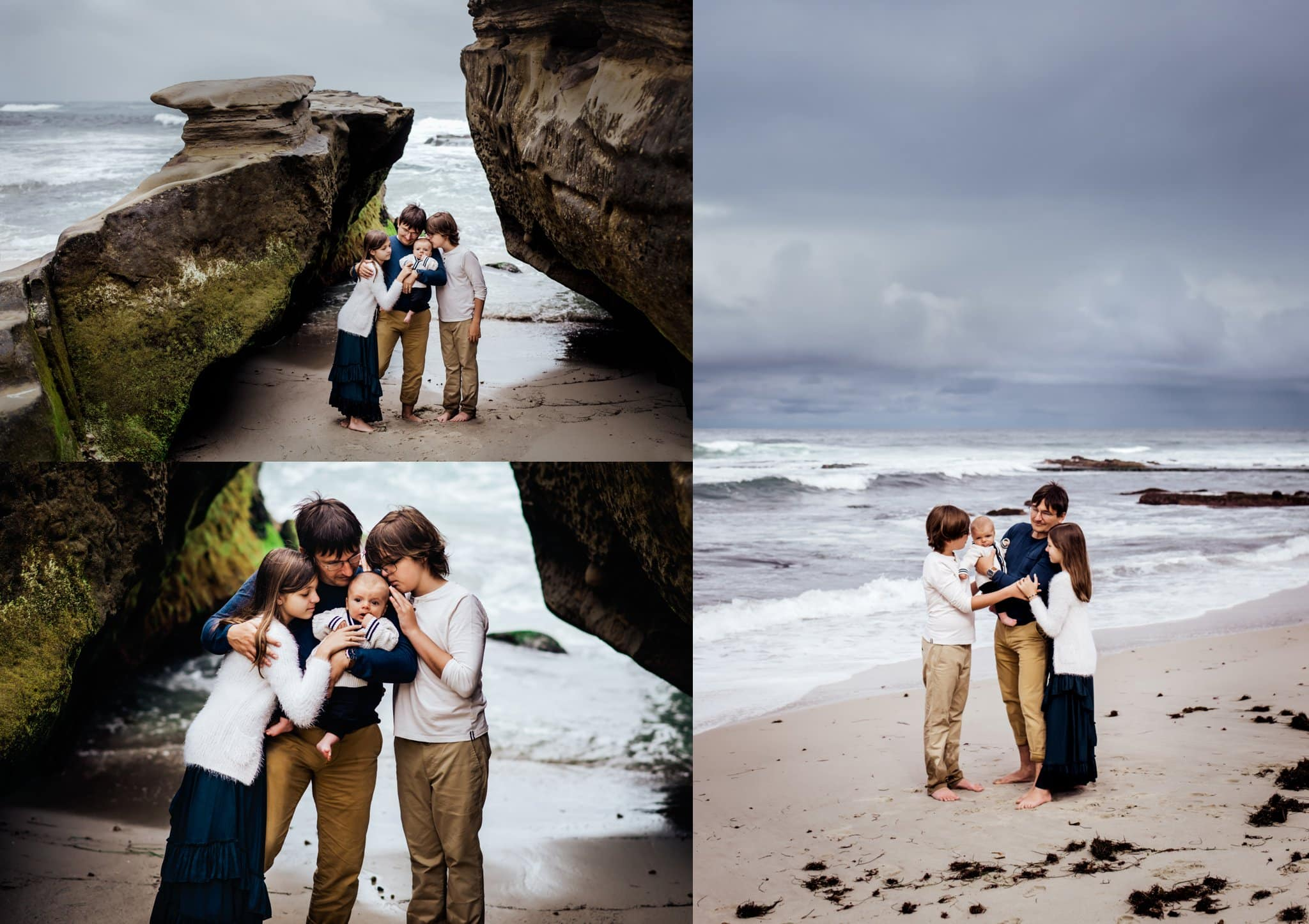 Father and three children cuddle together at Windansea Beach