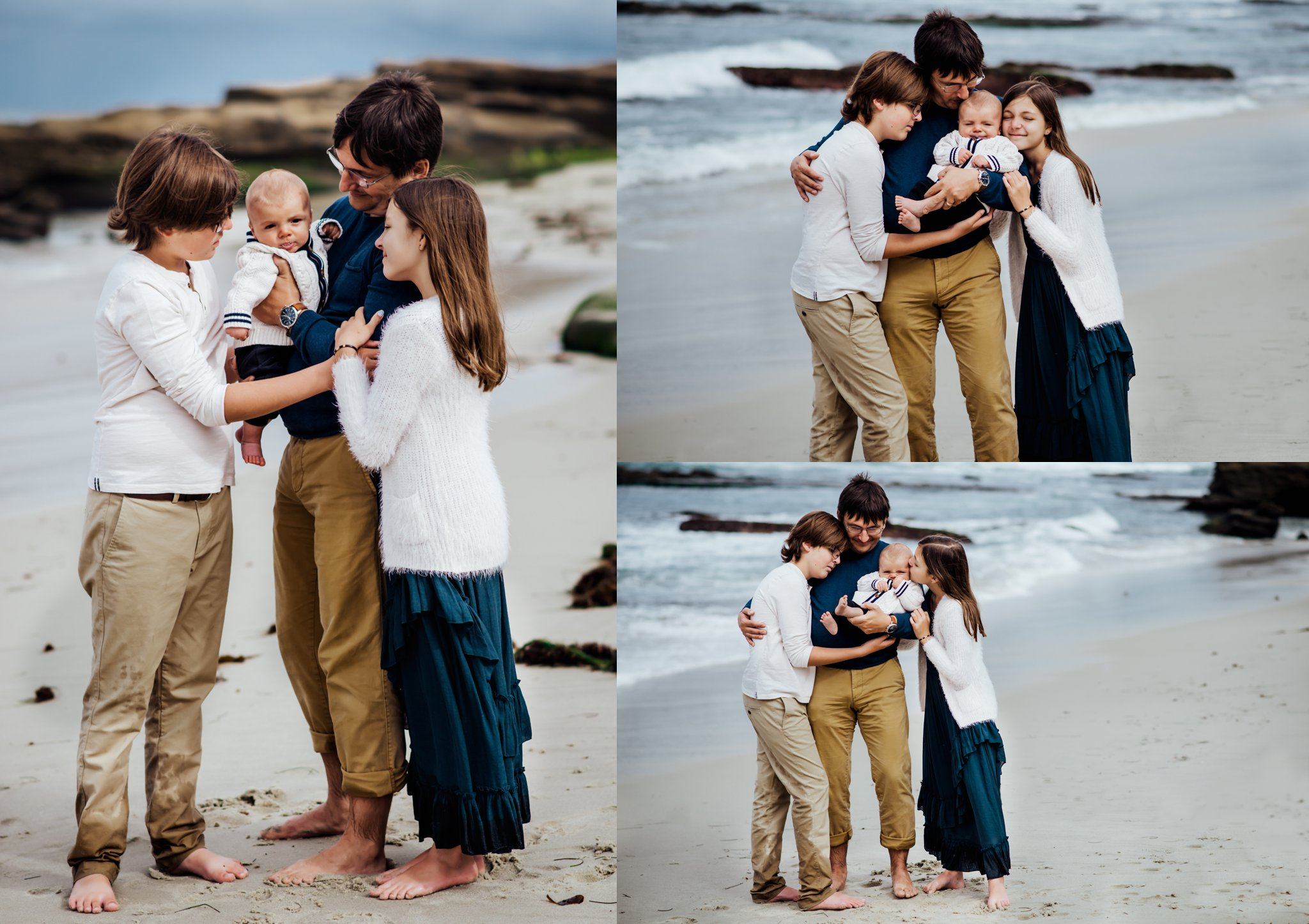 Father and two sons and one daughter cuddle together at Windansea Beach
