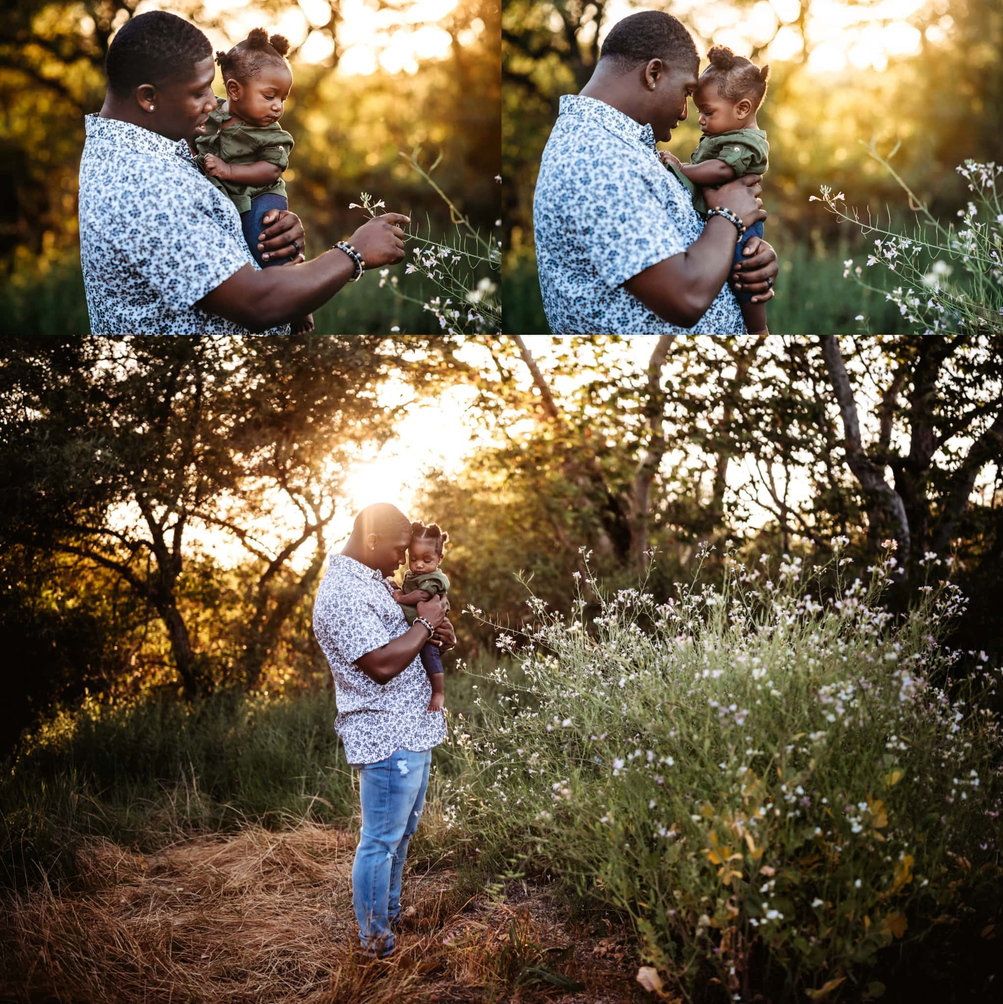 Father and baby daughter in Los Penasquitos Canyon Preserve