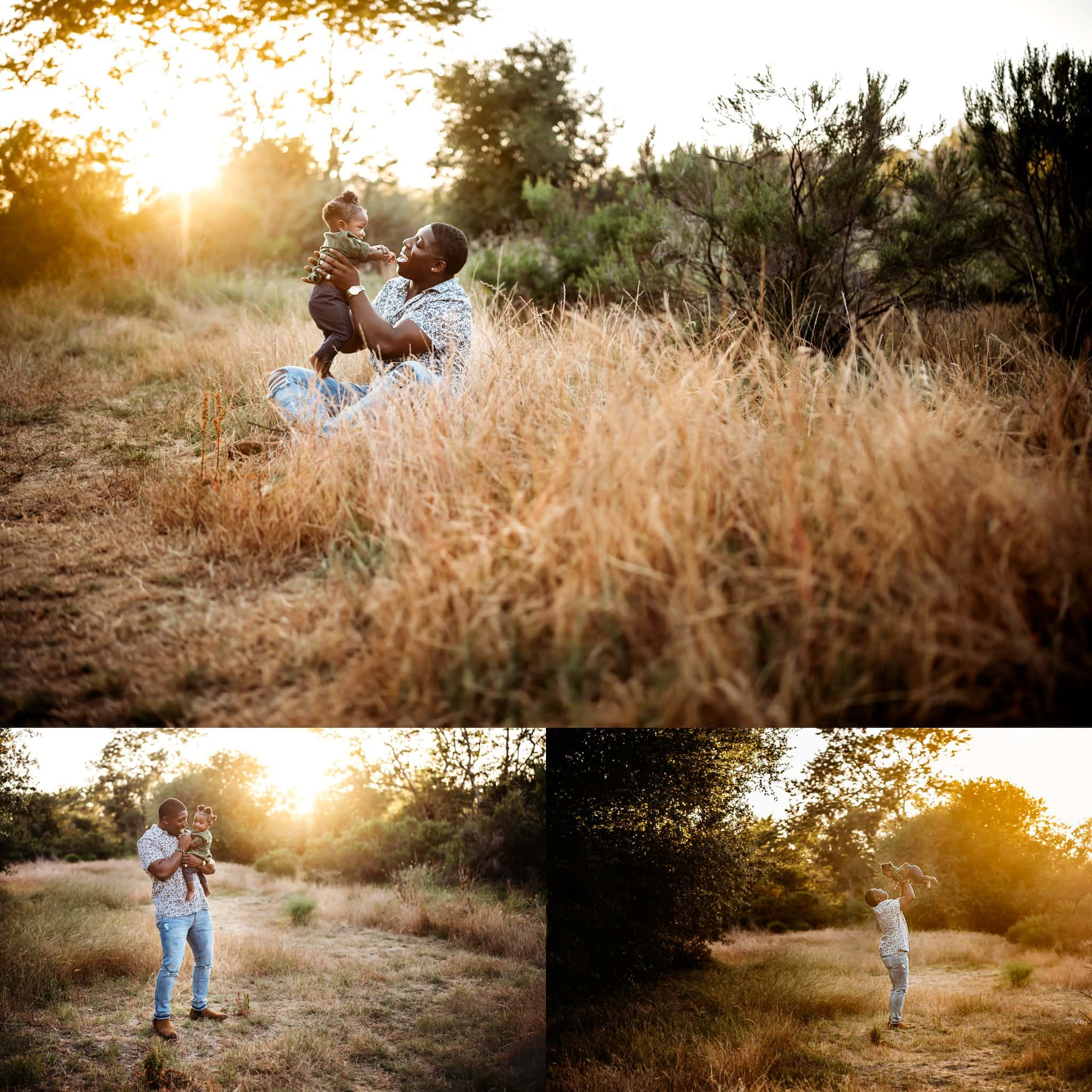 Father and 8 month old baby girl play together in a field with golden light
