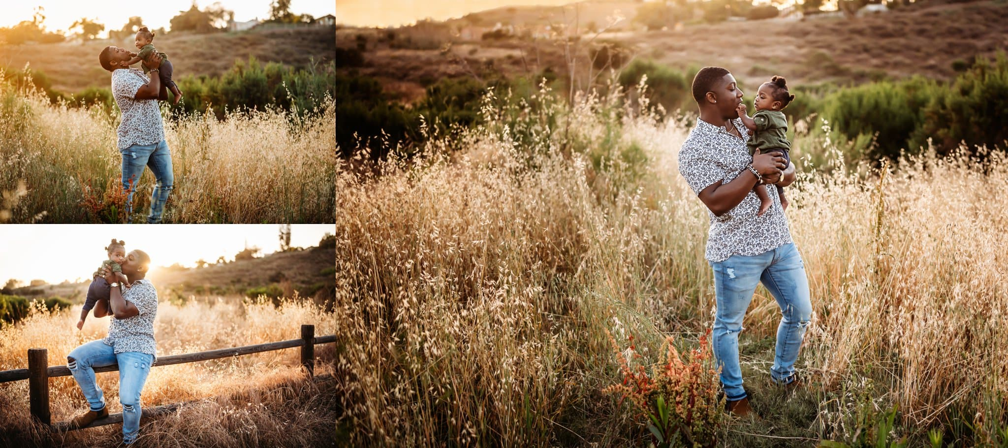 Father and baby girl interact together in Los Penasquitos Canyon Preserve